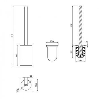 Ершик напольный для унитаза, квадратный Q-tap Liberty BLM 1157-2