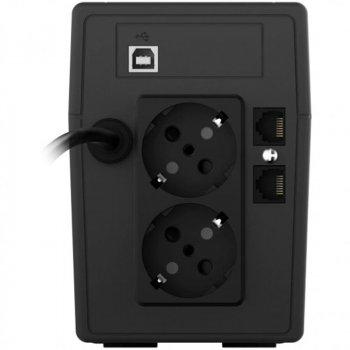 ДБЖ NJOY Cadu 850 (UPCMTLS685TCAAZ01B), Lin.int., AVR, 2 x Schuko, USB, LCD, пластик