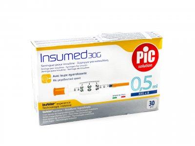 Шприцы инсулиновые Pic Solution INSUMED 0,5 мл с иглой 30G х 8mm