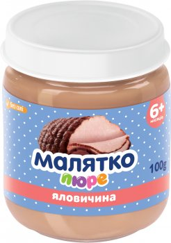Упаковка дитячого пюре Малятко Яловичина 100 г х 16 шт. (4820123511698)