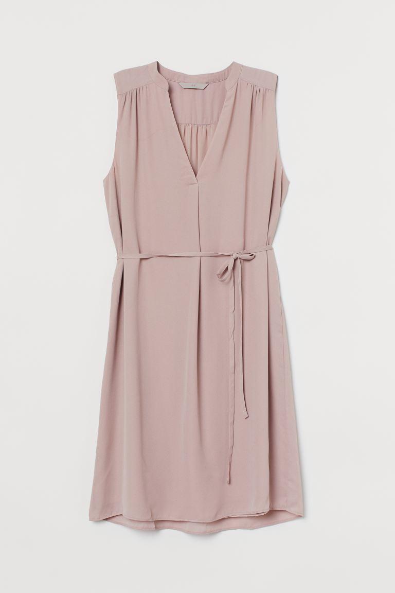 Платье с поясом H&M XS Светло-розовый