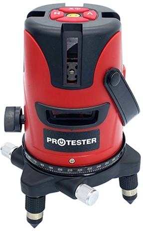Лазерний рівень PROTESTER, 5 ліній 1H/4V червоний промінь