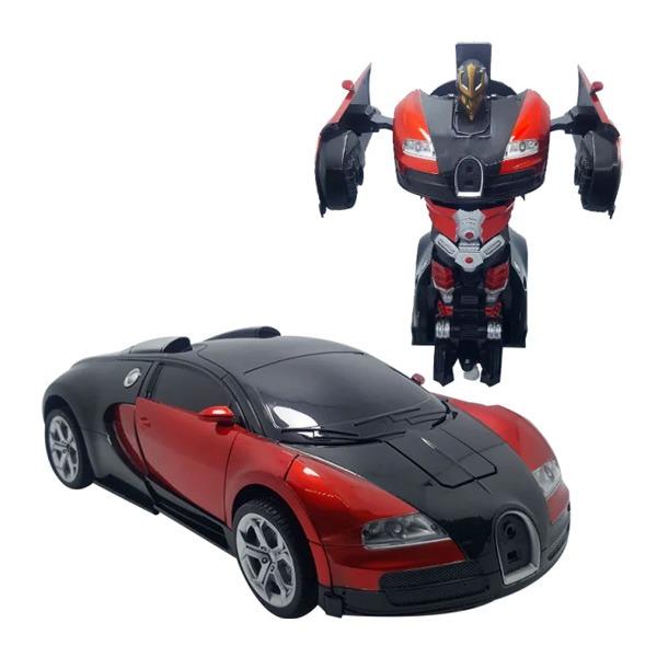 Kronos Toys / Машинка трансформер на радиоуправлении Bugatti Veyron Robot Car RC 1:18 радиоуправляемая машина на аккумуляторе красная