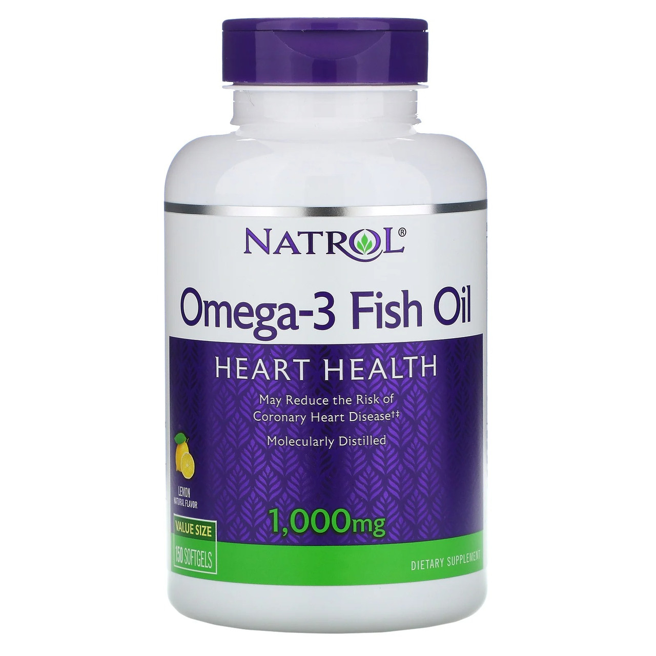 Омега-3 Рыбий жир Natrol Omega 3 Fish Oil для здоровья сердца, мозга и нормализации давления, натуральный лимонный вкус 1000 мг 150 капсул