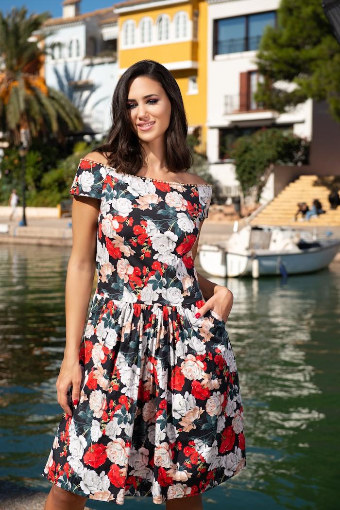 Цветочное платье с карманами AnastaSea 21A-232/2 SV 46(L) Цветной