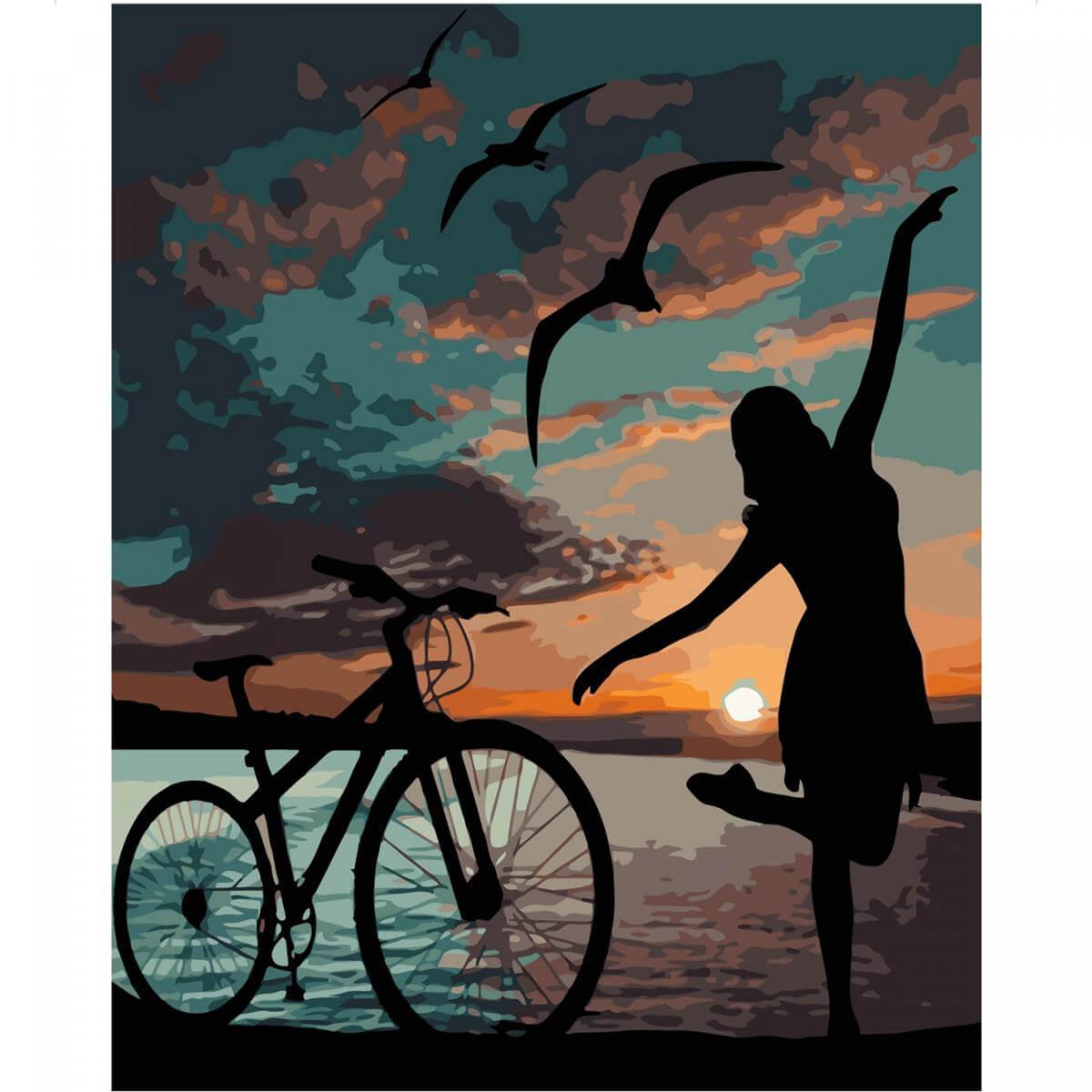 Картина по номерам Strateg «Ночная велопрогулка» 40-50 см VA-1837 Strateg (VA-1837)