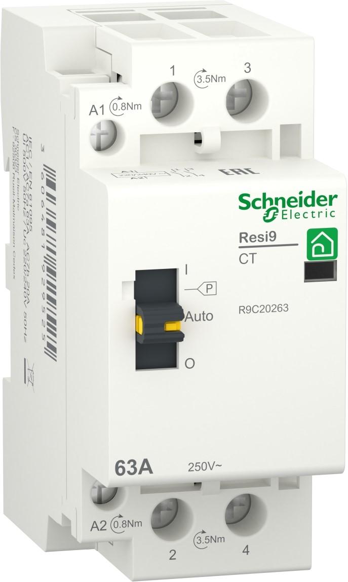 Контактор Schneider Electric RESI9 63 A, 1P+N, 2NO ~230 В / 50 Гц