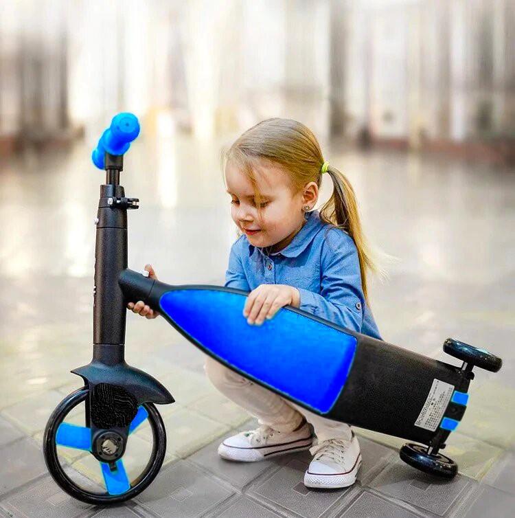 Универсальный Детский Трансформер Велосипед Беговел Самокат 3в1 Levand с Телескопической ручкой и Съёмными педалями Сине-чёрный