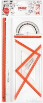 Набор геометрический 4 предмета Herlitz My Pen Urban небьющийся пластик Прозрачный с красным (11368222U) - изображение 2