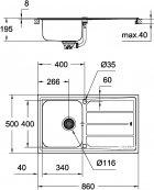 Кухонная мойка GROHE Sink K500 860x500 31573SD0 (31571SD0 сатин со смесителем Minta 32168000) - изображение 6