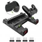 Мультифункциональная вертикальная подставка DOBE для Sony PlayStation PS4 Pro / PS4 Slim / PS4 Fat с охлаждающими кулерами, зарядная станция для двух геймпадов DUALSHOCK 4 с LED подсветкой, подставка под 10 дисков - изображение 2