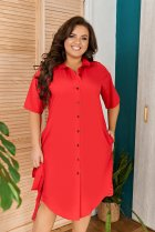 Платье-рубашка летнее большого размера с кружевом из гипюра So StyleM 60-62 Красный 1277-2 - изображение 3