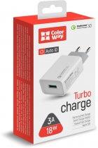 Сетевое зарядное устройство ColorWay 1 USB Quick Charge 3.0 (18W) White (CW-CHS013Q-WT) - изображение 4
