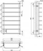 """Сушарка для рушників LIDZ Standard (CRM) D32/20х1/2"""" 500x1000 P8 - зображення 6"""