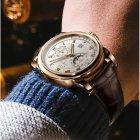 Годинники чоловічі Lobinni Business механічні з автопідзаводом, 25 каменів і шкіряним ремінцем + сапфірове скло Коричневий/Золотистий - зображення 4