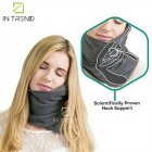 Подушка – шарф для шеи Travel Pillow для путешествий удобная мягкая дорожная подушка для сна в машину самолет поезд для детей и взрослых, Серый - изображение 5