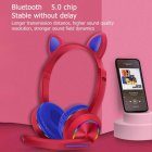 Беспроводные наушники с микрофоном Azimuth A23 милые кошачьи ушки, светящиеся, складные (Красный) - изображение 2