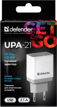 Мережевий зарядний пристрій Defender UPA-21 1xUSB 5V/2.1А White/Grey (83571) - зображення 3