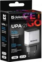 Мережевий зарядний пристрій Defender UPA-21 1xUSB 5V/2.1А White/Grey (83571) - зображення 4