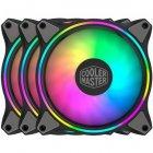 Набор вентиляторов Cooler Master MasterFan MF120 Halo 3in1 ARGB Sync+Wired ARGB Controller (MFL-B2DN-183PA-R1), 120х120х25 мм, 4pin, черный - изображение 1