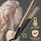 Плойка для Завивки-Гофре для прикореневого об'єму волосся Geemy by Gemei GM-2955W - професійний прилад для укладання - щипці для модною і оригінальною зачіски, Чорно-золотий - зображення 1