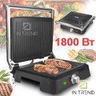 Контактный Электрический гриль DSP KB1049 1800 W прижимной от сети - электро-гриль со съёмным поддоном для приготовления мяса стейков овощей и рыбы с антипригарным покрытием, Чёрный-серебристый - изображение 1