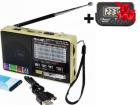 Аккумуляторный портативный радиоприемник Golon RX-2277 FM AM радио колонка с фонариком и USB выходом Черно-золотой + Электронные часы с будильником и секундомером - зображення 1