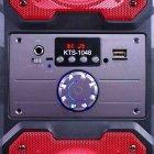 """Портативная беспроводная колонка аккумуляторная Bluetooth акустическая система 2х4"""" с пультом USB FM 2х5 Вт KTS 1048 Красная - изображение 3"""