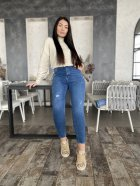 Джинси жіночі з латками джинс стрейч Miss Podium Синій 52 - зображення 3