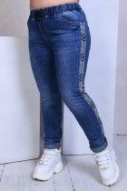 Джинсы женские стрейч котон потертые пояс резинка шнуровка Miss Podium Синий 50 - изображение 2