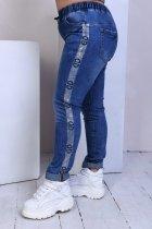 Джинсы женские стрейч котон потертые пояс резинка шнуровка Miss Podium Синий 50 - изображение 3