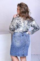 Спідниця джинсова з кишенями на гудзиках Miss Podium Блакитний 48 - зображення 2