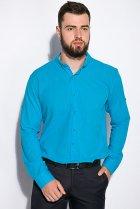 Деловая однотонная рубашкка Time of Style 511F018 XXXL Бирюзовый - изображение 2