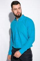 Деловая однотонная рубашкка Time of Style 511F018 XXXL Бирюзовый - изображение 3
