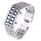 Часы-браслет Led Watch Iron Samurai Айрон Самурай серебристый с синими светодиодами ( IBW012SZ ) - изображение 2