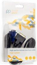 Відеокабель PowerPlant DVI-I (24+5) (M) - VGA (M) 1 м Чорний (CA911981) - зображення 3