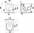 Унитаз подвесной CREAVIT Elegant Rim-Off EG321-11CB00E-0000 + сиденье Soft Close KC1103.01.0000E дюропласт - изображение 3