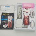 Епілятор бездротовий Gemei GM7002 жіночий акумуляторний з насадками і щіткою Червоно-білий (10317) - зображення 3
