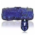 Провідна ігрова клавіатура Atlanfa з 3-я підсвічуваннями і мишкою V-100 Комплект чорний - зображення 1