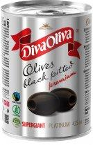 Маслины чёрные Diva Oliva Platinum Супергигант без косточки 425 мл (5060162903873) - изображение 1
