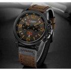 Часы мужские Curren Monreal с кожаным ремешком Черный/Коричневый - изображение 2