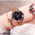 Часы женские Baosaili Cherry с металлическим браслетом + магнитная застежка Черный/Золотистый - изображение 3