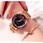 Часы женские Baosaili Cherry с металлическим браслетом + магнитная застежка Черный/Золотистый - изображение 4