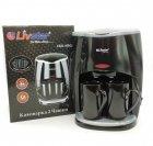 Капельная кофеварка в комплекте две керамические жаропрочные чашки Livstar LSU-1190 черная - изображение 3