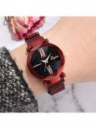Часы наручные Starry Sky женские с сетчатым браслетом и магнитной застежкой, красные (SKU_189658) - изображение 3