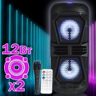 Портативная беспроводная колонка Column BT 4220 со встроенным аккумулятором USB для улицы и дома - Переносная музыкальная акустическая система с блютузс двумя динамиками - LED подсветкой и FM радио + TF-card + AUX, Чёрный Bluetooth - изображение 1