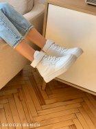 Высокие кеды на липучке Shoozi bench кожаные 41 белые - изображение 3