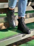 Высокие кеды на липучке Shoozi bench кожаные 38 черные - изображение 1