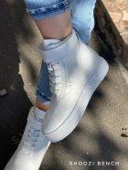 Высокие кеды на липучке Shoozi bench кожаные 41 белые - изображение 5