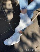 Высокие кеды на липучке Shoozi bench кожаные 41 белые - изображение 7
